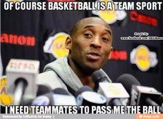 Hahaha Kobe's definition of a team sport. - Hahaha Kobe's definition of a team sport. Funny Nba Memes, Funny Basketball Memes, Sport Basketball, Basketball Quotes, Basketball Pictures, Love And Basketball, Football Memes, Basketball Stuff, Basketball Legends