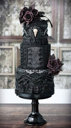 """Gothic wedding cake by sweetlake cakes<br /><a href=""""www.sweetlakecakes.com """" target=""""_blank"""">Source</a>"""