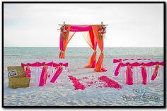 Pink + Orange Beach Wedding