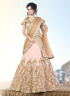 Striking Beige A Line Lehenga Choli