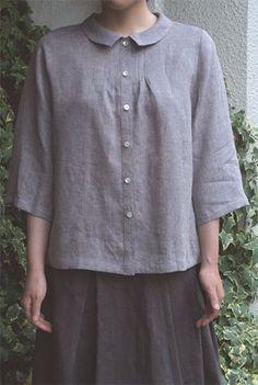 Casual Sleeve Round Neck Plus Size Tops Blouse En Lin, Pull Gris, Kurta Designs, Grey Women's Tops, Blouse Patterns, Linen Dresses, Modest Fashion, Dressmaking, Cotton Linen