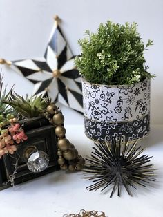 Are you like me constantly looking for perfect planter to fit your home decor? If your answer is yes you may like this budget friendly project. Gather some big can , some pretty napkins, Mod- Podge and paint and you are ready to go. My latest obsession in my home decor are black and white patterns with bit of gold. If you like to check some of my favorites check HERE. Are you ready to transform with me big coffee can into one stunning planter? Just because my napkin had a light bac… Hanging Succulents, Succulents Diy, Hanging Planters, Stone Planters, Modern Planters, Sunburst Mirror, Diy Mirror, Bohemian Beach Decor, Cedar Window Boxes