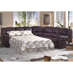 Brown leather sectional sofa with a built in bed for overnight guests!  sc 1 st  Pinterest : leather sectional with sleeper and recliner - Sectionals, Sofas & Couches