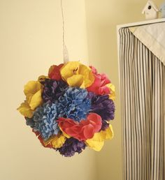 Floral Pomander Ball Mixed Colors----  we could do these in rachys wedding colors for the codman?