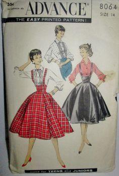 Advance 8064 Blouse Suspender Skirt Sewing Pattern by Denisecraft, $12.99