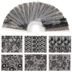 20 Sheet 20cm*4cm Black Lace Flower Transfer Foil Nail Art Sexy Design Sticker Decal For Polish Care DIY Free Shipping WY188
