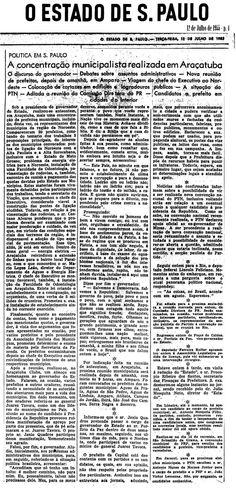 A concentração municipalista realizada em Araçatuba - 12/07/1955