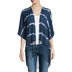 Neiman Marcus Tie-Dye Tassel-Trim Cardigan ($48) ❤ liked on Polyvore featuring tops, cardigans, tie dye cardigan, blue top, elbow length sleeve tops, blue cardigan and elbow sleeve tops