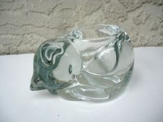 Vintage clear Glass Cat Tealight Candle Holder - I have one like this