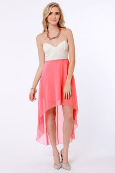 Check it out from Lulus.com! We've hemmed in our favorite looks for the year into the perfectly on-trend Modish of the Day Ivory and Coral Pink Dress! Ivory lace bustier bodice has a lightly cupped and boned bust, and pairs beautifully with a flowy coral pink chiffon skirt that flares out into a lovely high-low hem. Hidden back zipper. Lined to mid-thigh. Model is wearing a size small. Skirt measures 19