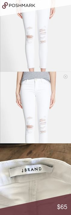 J brand white distressed denim cropped White J brand jeans cropped J Brand Pants Ankle & Cropped