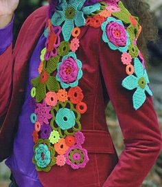 "Flower power crochet scarf: My inner hippy is shouting ""I want one! Guess I got to learn to crochet. Crochet Flower Scarf, Freeform Crochet, Crochet Scarves, Crochet Shawl, Crochet Clothes, Crochet Flowers, Crochet Hooks, Knit Crochet, Crocheted Scarf"