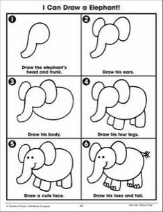 Little Kids . Drawing Lessons For Kids, Easy Drawings For Kids, Art Lessons, Art For Kids, Drawing Ideas, Elmer The Elephants, Directed Drawing, Step By Step Drawing, Art Activities