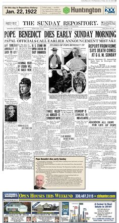 The death of Pope Benedict XV was front-page news in The Repository on Jan. 22, 1922.