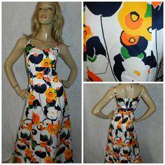 Vintage 70s Navy/orange BOLD PSYCHEDELIC Multicoloured KITSCH Flower Power print maxi dress 10-12 1970s Kooky Unique by HoneychildLoves on Etsy