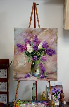 Flowers Painting Acrylic Lilac 28 New Ideas Lilac Painting, Oil Painting Flowers, Abstract Flowers, Acrylic Art, Painting Inspiration, Flower Art, Landscape Paintings, Watercolor Paintings, Canvas Art