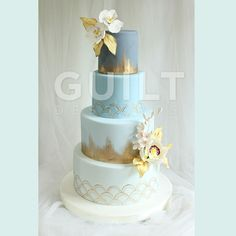 Blu Asian Wedding Cake Cake by Guilt Desserts.......