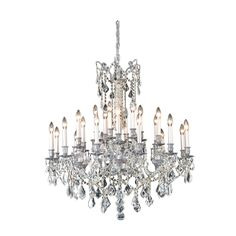 "Elegant Lighting 9224D36PW/EC Rosalia Collection Dining Room Large Hanging Fixture D36"" x H36"" Pewter Finish (Elegant Cut Crystals)"