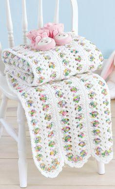 Crochet Baby Blankets with Love Timeless Classic Blankets for Every Baby Crochet Patterns Baby Afghan Crochet, Crochet Quilt, Manta Crochet, Afghan Crochet Patterns, Stitch Patterns, Crochet Blankets, Embroidered Blankets, Baby Afghans, Granny Square Häkelanleitung