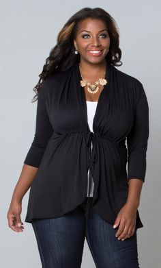 Order our jersey knit cardigan as a versatile outer layer for those cool summer nights or breezy fall days. Purchase this plus size wrap cardigan today! Curvy Women Fashion, Plus Size Fashion, Girl Fashion, Fashion Outfits, Womens Fashion, Fashion Hats, Fashion Edgy, Fashion Clothes, Style Fashion