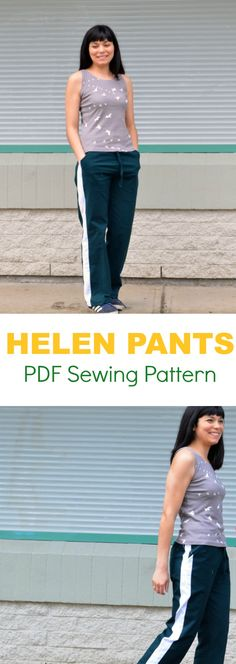 Introducing the Helen Pants and Strapless top PDF sewing pattern: Learn how to make a track pants with this easy step by step sewing tutorial