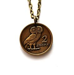Owl Necklace Greek Coin 1973 Greece 2 Drachma Phoenix Charm Handmade Jewelry by Hendywood - Hendywood