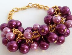 Marsala Pearl Bracelet/ Beaded Bracelet/ Marsala от ElenaVorobey