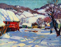 """""""Red Barn With Figure in Winter"""" 8x10 oil on artist's board by Aldro Thompson Hibbard.  (American 1886-1972)."""