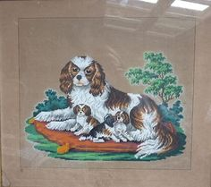 A Berlin WoolWork Pattern ~ Spaniel & Puppies On A Cushion