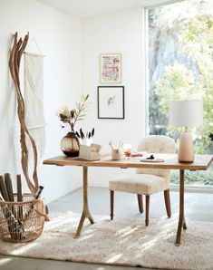 home Office Decor Decor, Table, Home Office Design, Home Office Decor, Interior, Dining Chairs, Home Decor, White Oak Table, Dining Table