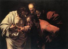 "Caravaggio    Caravaggio (1571-1610)  The Incredulity of Saint Thomas  Oil on canvas  1601-1602  146 x 107 cm  (4' 9.48"" x 3' 6.13"")"