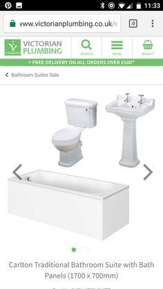 Traditional Bathroom Suites, Bath Panel, Plumbing, Small Bathroom, Toilet, Sink, Home Decor, Small Shower Room, Sink Tops