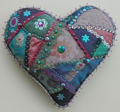Heart Space Studios workshop crazy pinned and sequined heart by Aza Adlam