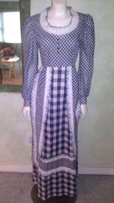 9978e90e35 Vintage 960s 70s Dress Maxi Cotton Blue White Checked Plaid Ruffles Lace Sz  M  Handmade