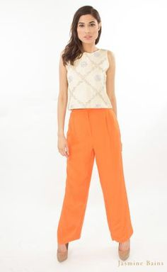 edc1c059546bca Light beige silk cropped top with silk crepe pants Silk Crepe