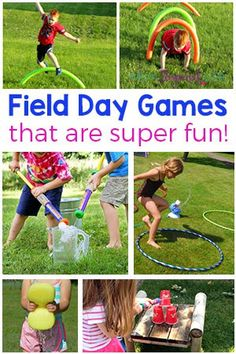 These field day games for kids are all super fun and exciting. They are outdoor games that will get the kids moving, playing and having fun this summer!