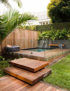 27 diy backyard swimming pool designs ideas for your small – backyard design ideas Backyard Pool Designs, Swimming Pools Backyard, Small Backyard Landscaping, Swimming Pool Designs, Landscaping Design, Lap Pools, Indoor Pools, Backyard Beach, Mulch Landscaping