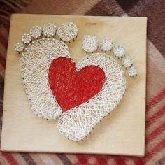 Echten fussabdruck mit stringart nachbauen...Love string art by String Art Baku