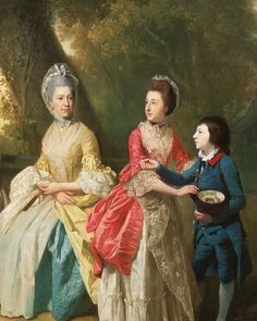 Just as I decide to stick with formal 18th century portraiture for #georgianjanuary , I run into Day 4: Yellows. Yellow was a very popular color for gowns, as shown by numerous extant garments, but it is far less often shown in portraits than blue, pink, or white. Interesting! Nonetheless, this detail from Zoffany's Drummond Family shows Mrs. Drummond in a beautiful butter-yellow silk. She's paired it with an aqua petticoat in quilted silk and matching neck bow, and plenty of fancy frilly…