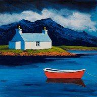 "South Uist croft & boat<br />12"" x 12"" Watercolor Projects, Watercolor Ideas, Landscape Art, Landscape Paintings, Seaside Art, Felt Pictures, Crochet Dolls, Crayons, Fireplaces"