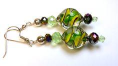 Dangle Earrings Green Yellow and Black Dangle by B4Jjewelrydesigns