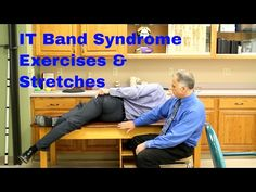 """IT Band Syndrome (Outside Knee Pain) Exercises & Stretches. (Iliotibial Band Syndrome) """"Famous"""" Physical Therapists Bob Schrupp and Brad Heineck demonstrate effective exercises and stretches for Iliotibial (IT)Band Syndrome which causes pain … source It Band Stretches, Knee Pain Exercises, Daily Stretches, Sciatica Exercises, Band Exercises, It Band Syndrome Treatment, Tight It Band, Iliotibial Band Syndrome, Tight Hip Flexors"""