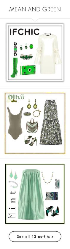 """MEAN AND GREEN"" by things-fo4-your-head on Polyvore featuring nOir, Mother of Pearl, Funtasma, Kenneth Jay Lane, ifchic, worldwideshipping, holidayswithifchic, Azhar, Annoushka and Erdem"