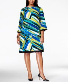 Calvin Klein Plus Size Abstract Pattern Shift Dress - Dresses - Women - Macy's