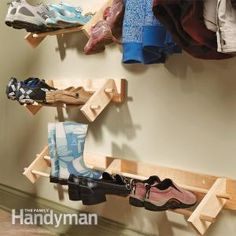 Easy Project Build a Shoe Organizer Store shoes up off the floor in clean, natural wood racks. This simple storage rack can handle everything from winter boots to summer sandals, with no mud buildup or scuff marks on the wall. Good for a garage Shoe Storage Hacks, Entryway Shoe Storage, Craft Room Storage, Diy Storage, Organization Hacks, Storage Rack, Storage Ideas, Wall Storage, Entryway Ideas