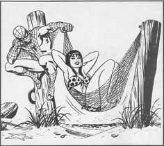 A wonderful and funny illustration by John Romita Sr. from Amazing Spider-Man annual #21 (1987), the wedding issue.  MJ really must be the patient sort, considering she married a man who cant figure out that he could stick the other end of the webbing to the post hes sitting on.