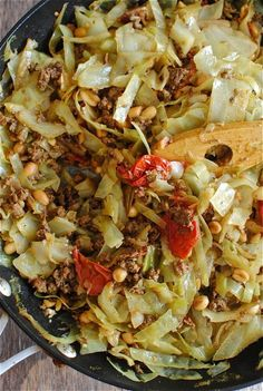 Thai beef and cabbage - try with ground pork as an alternative (watch out, the cayenne is listed as a tablespoon, I could never use that much)