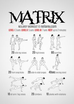 No-equipment Matrix bodyweight workout for all fitness levels. Print & use.