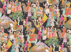 Dara (3074/03) - Manuel Canovas Wallpapers - A glorious colourful all over design inspired by the art of the Indian Maharajahs, peopled with musicians, warriors and horsemen, all in brightly coloured and patterned clothing, set on a rich black background. Please request sample for true colour match. Wide width product.