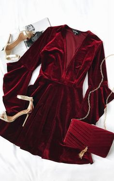 Take a twirl in the Wrapped in Luxe Burgundy Velvet Bell Sleeve Skater Dress! Soft and stretchy velvet skater dress with bell sleeves. Mode Outfits, Dress Outfits, Dress Up, Fashion Outfits, Dress Night, Wine Red Dress, Dress Long, Dress Fashion, Stylish Outfits